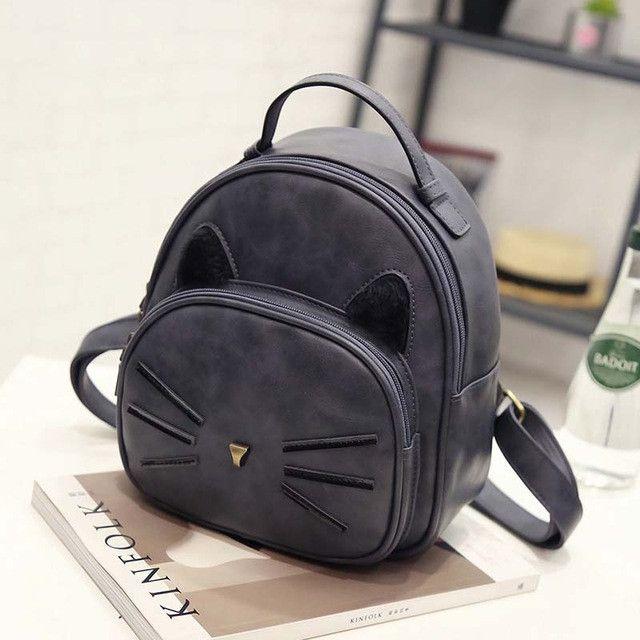 Cute Cat Ears Leather Backpack