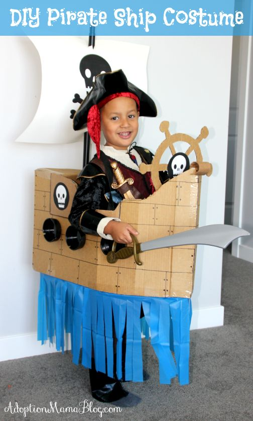 How to Make a Homemade Pirate Ship Costume out of Cardboard & Dollar Store Finds: