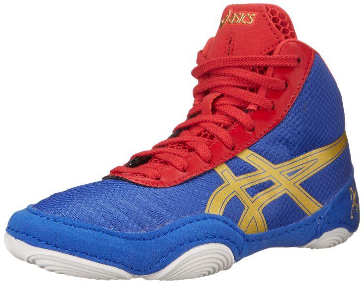 ASICS JB Elite V2.0 GS Wrestling Shoe (Little Kid/Big Kid), Jet Blue/Olympic Gold/Red, 1.5 M US Little Kid. Fit: True to Size. Outsole: Rubber. Upper: Mesh.