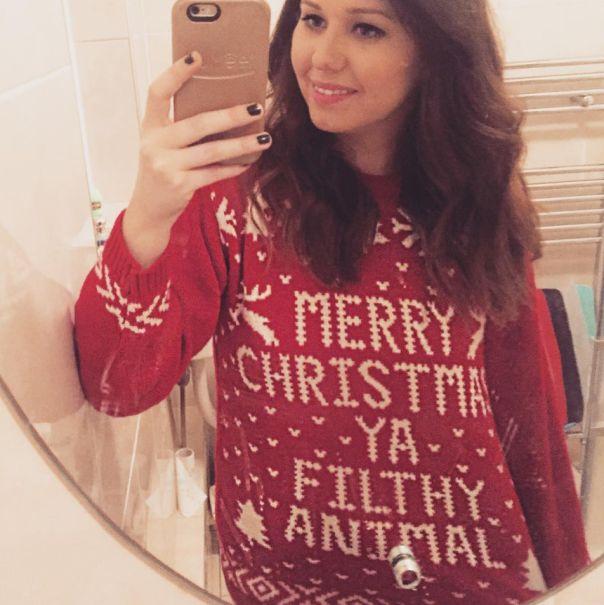"Cheesy Christmas jumper- ""Merry Christmas ya filthy animal""."