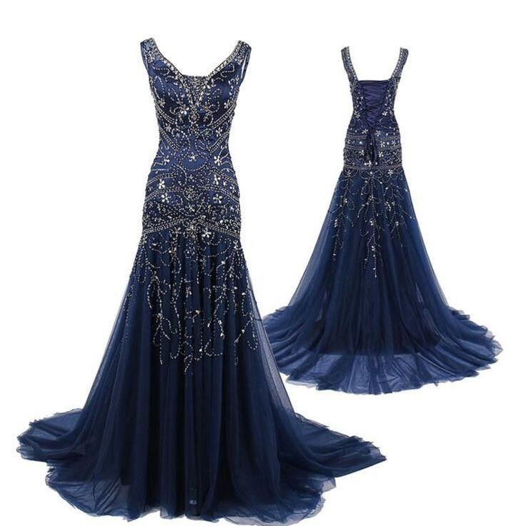 navy blue prom Dress,rhinestone Prom Dresses,long prom dress,charming prom dress,BD1666