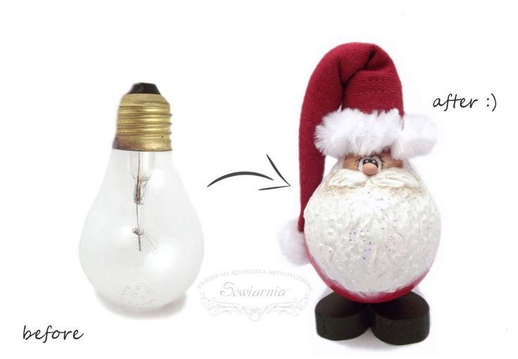 Handmade lightbulb Santa / Mikołaj z żarówki