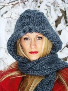 Crafts by Starlight made this beautiful cabled hood with our bulky weight yarn, Hometown USA. Great for when the cold weather really comes.