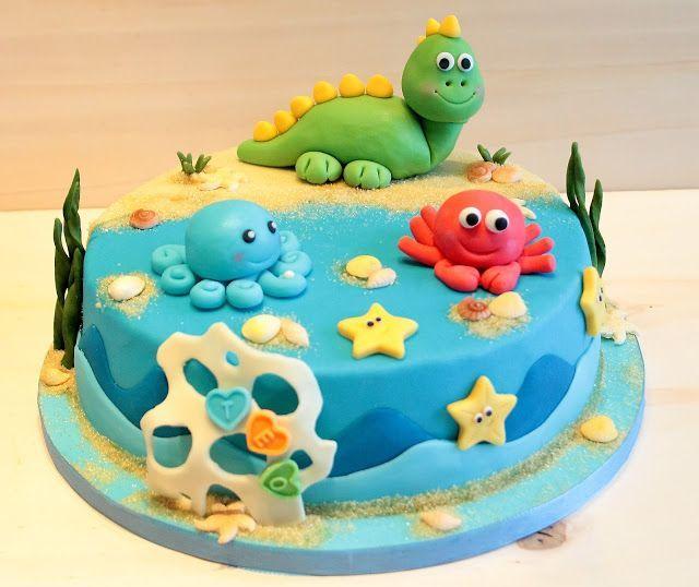 Kindergeburtstagstorte Fondant Dinosaurier Fondant Krabben Tintenfisch Alles Kindergeburtstagstorte Geburtstagskuchen Kinder Geburtstagstorte
