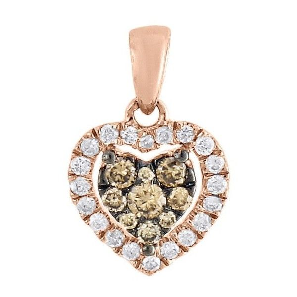 Pre-owned 14K Rose Gold & 0.35ct Brown and White Diamond Heart Charm... (1.205 BRL) ❤ liked on Polyvore featuring jewelry, pendants, rose gold pendant, rose gold charms, 14k rose gold pendant, charm jewelry and heart jewelry