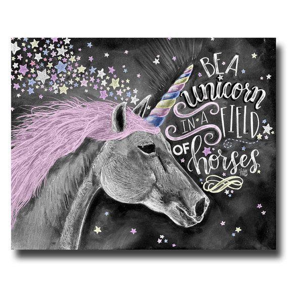 Unicorn chalk board art
