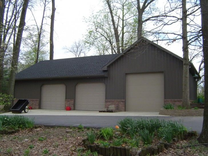 Home & Apartment, Simple Pole Barn House With Metal Siding And Roofing  Three Units Garage Doors ~ Pole Barn House Designs: the Escape from Popular Modern House Style