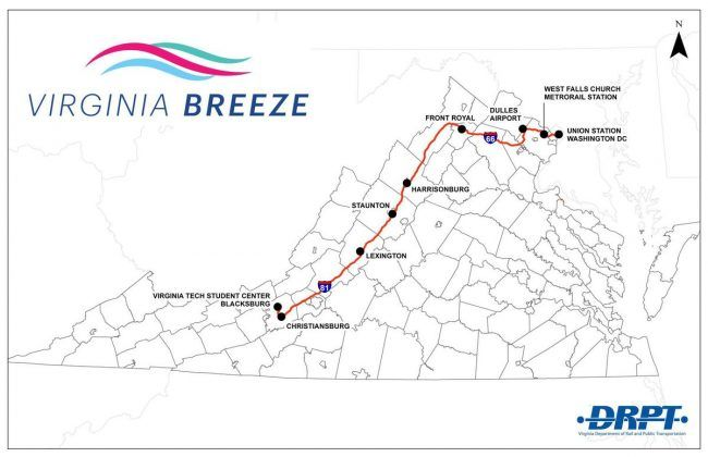 Virginia Breeze, -a new bus route between Washington D.C. and Blacksburg, is set to begin providing service on December 1.
