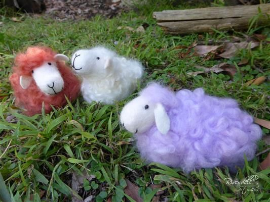 Colored needle felted flock of sheep - Doreen Backway