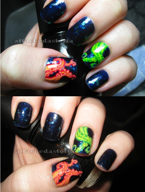 Release the kraken!: Tentacle Nails, Pretty Polish, Polish Girls, Nails Art, Kraken Nails, Nails Ideas, Sea Nails, Nails Polish, Glow In The Dark