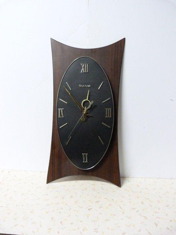 Vintage Mid Century Modern Bulova Wall Clock Retro Vintage Mid Century Modern Clock