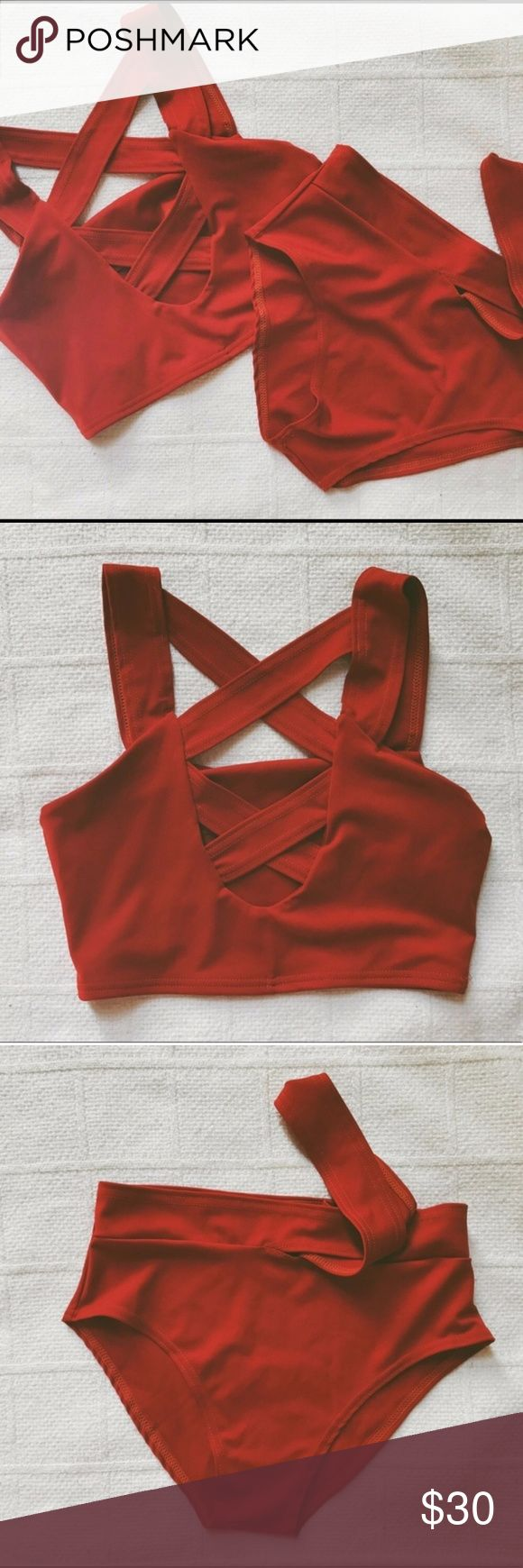 Burnt orange red strappy swimsuit bikini cut out Red orange strappy cut out bikini  Size Small, Fits more like a med Unbranded Great condition High waisted strappy bottoms Last pic shows fit, color is slightly lighter in person  *TAGS- missguided, blue life, stone cold fox, Zaful, asos, nastygal, victorias secret* No brand tag Swim Bikinis