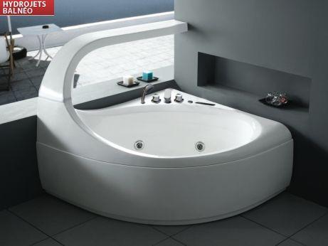 Baignoire balnéo d'angle design ELLIPSE - 2 places - 147*144*H115cm - 300L