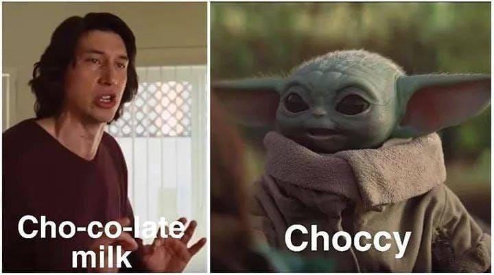 Baby Yoda On Instagram Choccy Babyyodameme Starwarsnerd Starwarsart Starwars Choccymilkarmy Starwarst Yoda Funny Star Wars Jokes Yoda Meme