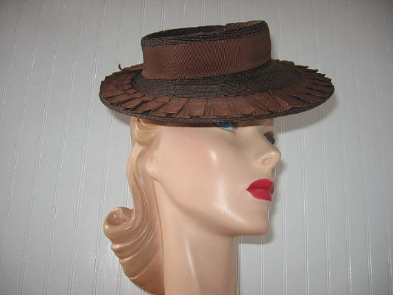 1940's Brown Straw Sailor Hat with Pleated by BrionyLodgeVintage