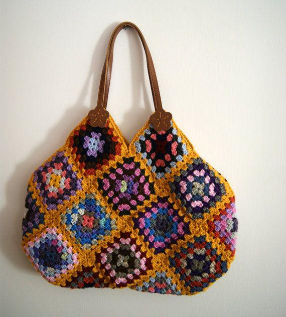 Granny Square Bag : Mustard Crochet granny square bag
