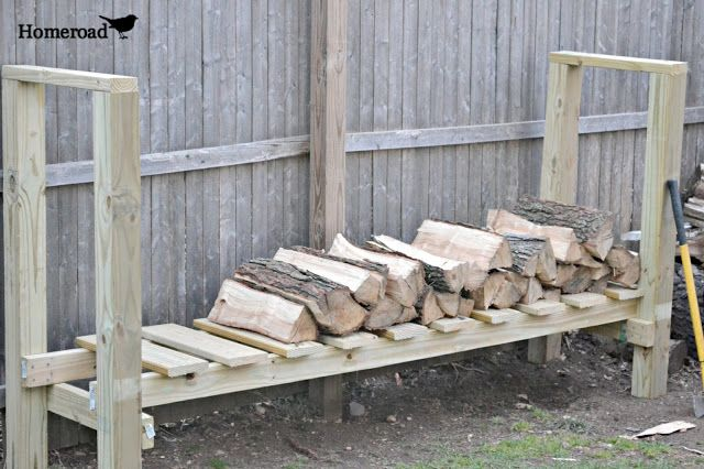 DIY Log Holder... easy diy, and they got the wood cut at the store.