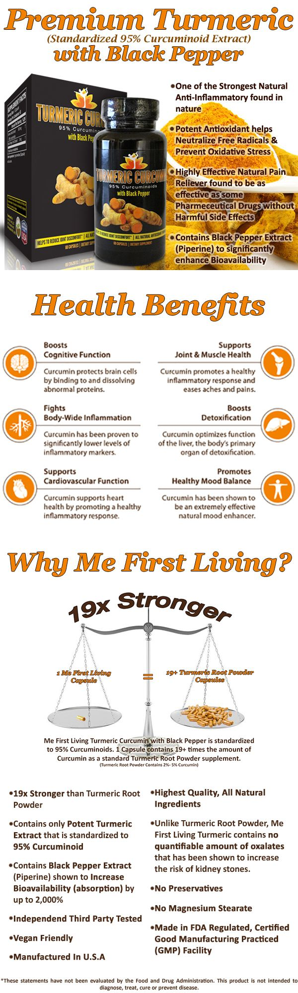 Not all Turmeric Supplements are the same! 19X STRONGER! Me First Living Premium Turmeric Curcumin with Black Pepper contains 95% Curcuminoids (Extract), the same potency used in scientific studies! It is many times stronger than regular turmeric root powder supplements and is up to 2,000% more absorbent!