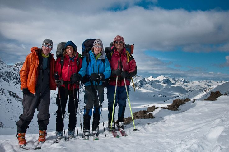 Tony Hoare, Faye Atkinson, Margaret Gmoser and Chic Scott on thier 19-day expedition from Jasper to Lake Louise.