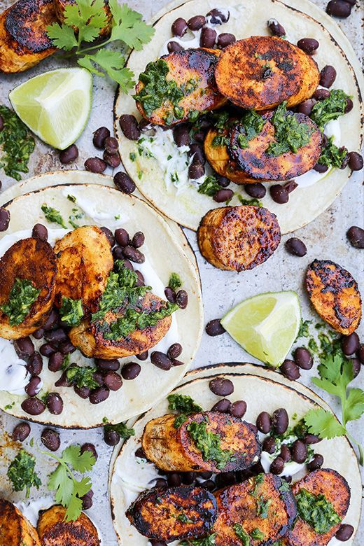 Plantain and Black Bean Tacos with Chimichurri Sauce | www.floatingkitch...