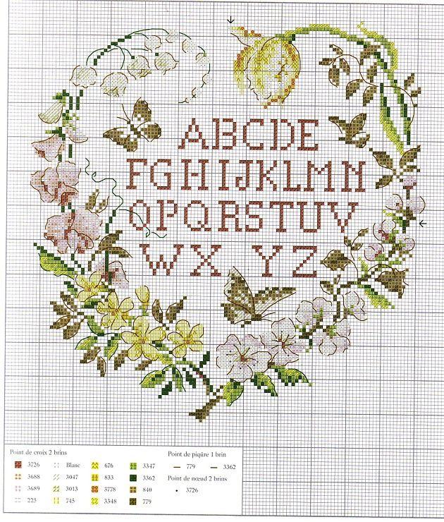 0 point de croix abécédaire -coeur fleurs  cross stitch alphabet