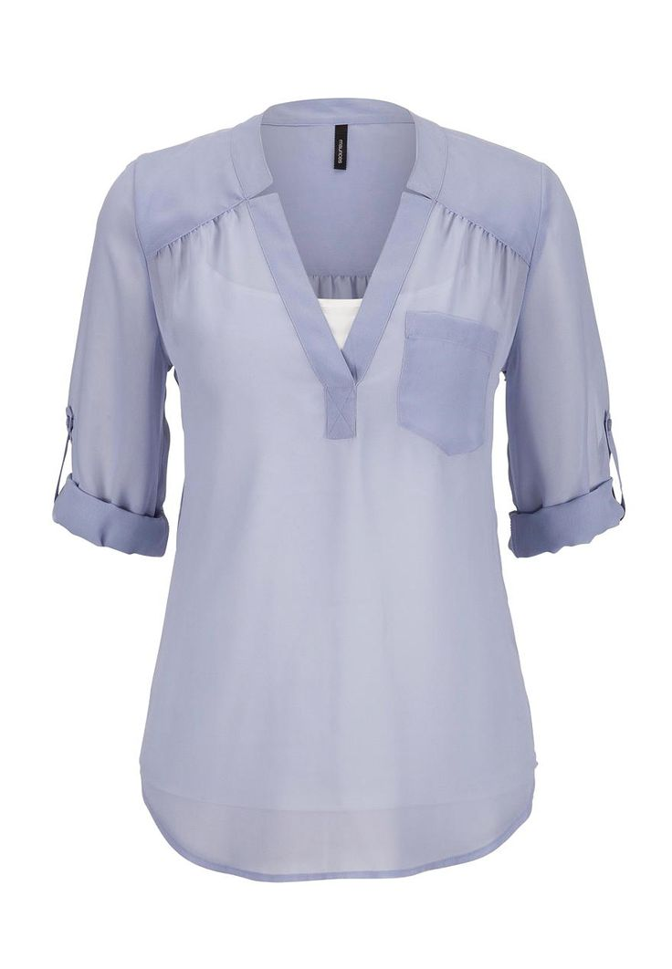 3/4 sleeve chiffon blouse with pocket