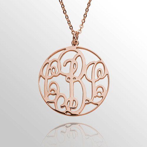 Rose Gold anfängliche Monogram Halskette von MonogramForYou2014