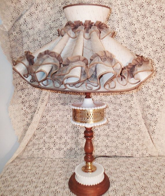 Colonial American Style Lamp 1950s Hobnail Milk Glass