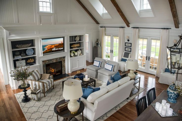 HGTV Dream Home 2015: Great Room | HGTV Rock fireplace, painted board backing in shelves