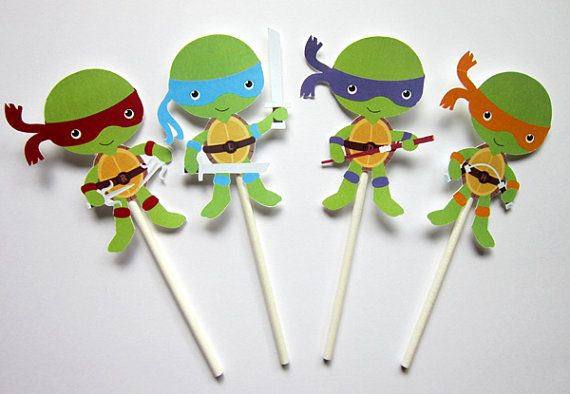 This listing is for (12) Ninja Turtle Cupcake Toppers. These cute ninja turtle cupcake toppers would be great for your ninja turtle theme birthday or