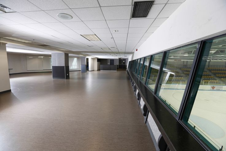 A large open meeting space beside the arena in Centennial Community Centre