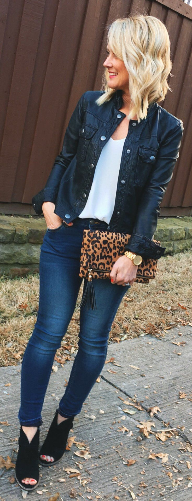 Black Leather Jacket / White Top / Leopard Clutch / Navy Skinny Jeans / Black Open Toe Booties