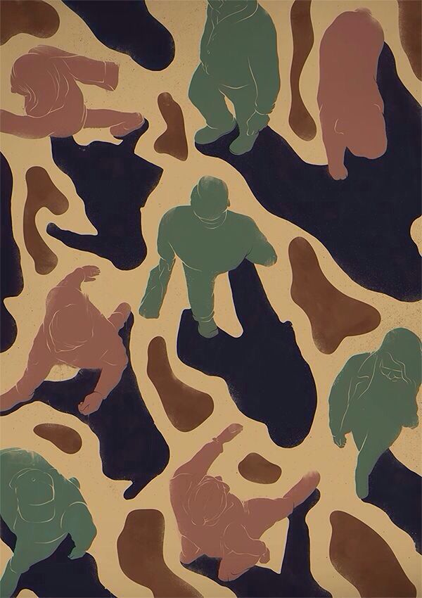 Seoul people camouflage pattern illust