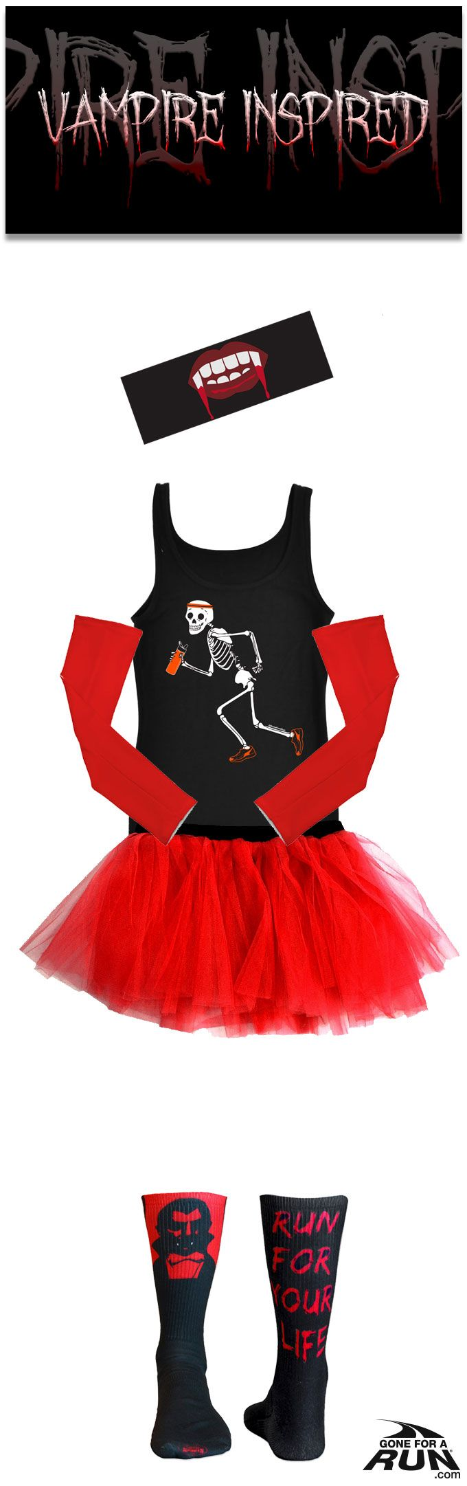 Make up your own #costume, or check out one of our original ideas: Have the competition run the opposite direction with our Women's #vampire inspired Halloween runner's costume! Get in a #spooky fun mood with our #Halloween inspired running apparel! From shirts to socks and more, you'll find something to suit you and your running friends haunted moods!