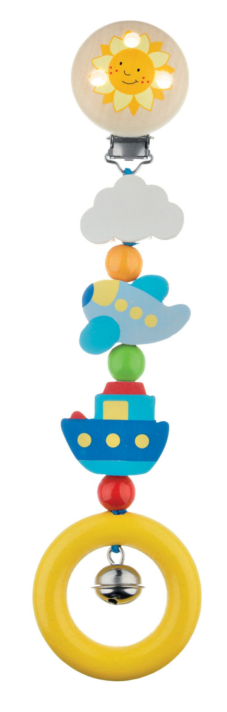 Baby will adore this bright and cheerful clip-on toy! These little characters will clip on to clothing, prams and cots to ensure a friendly face is always close by to look at and touch, whilst the tinkling bell will soothe and cheer.  These wooden toys encourage both the motor coordination and the mental development of the baby.