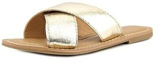 New Directions Trumpet Women Open Toe Synthetic Gold Slides Sandal.