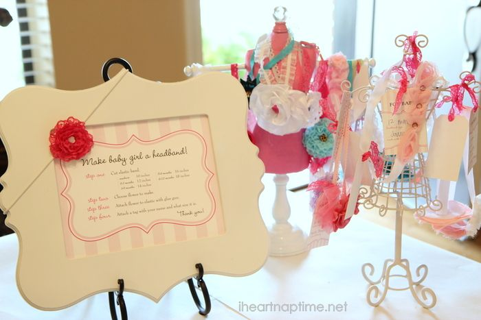 BABY SHOWER ACTIVITY: Have your guests make hair bows as a gift during the shower. Such a fun idea! #babyshower #craft