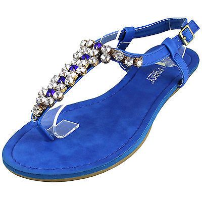 New-womens-shoes-sandals-open-toe-wedge-Royal-blue-t-strap-rhinestones-party