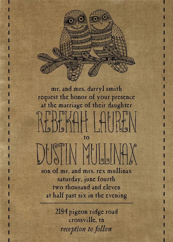 Owl Wedding Invitation Suite (Printable, Digital File). $35.00, via Etsy.