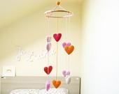 Baby Heart Mobile, Nursery Mobile, Crib Heart Mobile, Baby Shower Gift for Girls, Hearts Chandelier. $49.00, via Etsy.