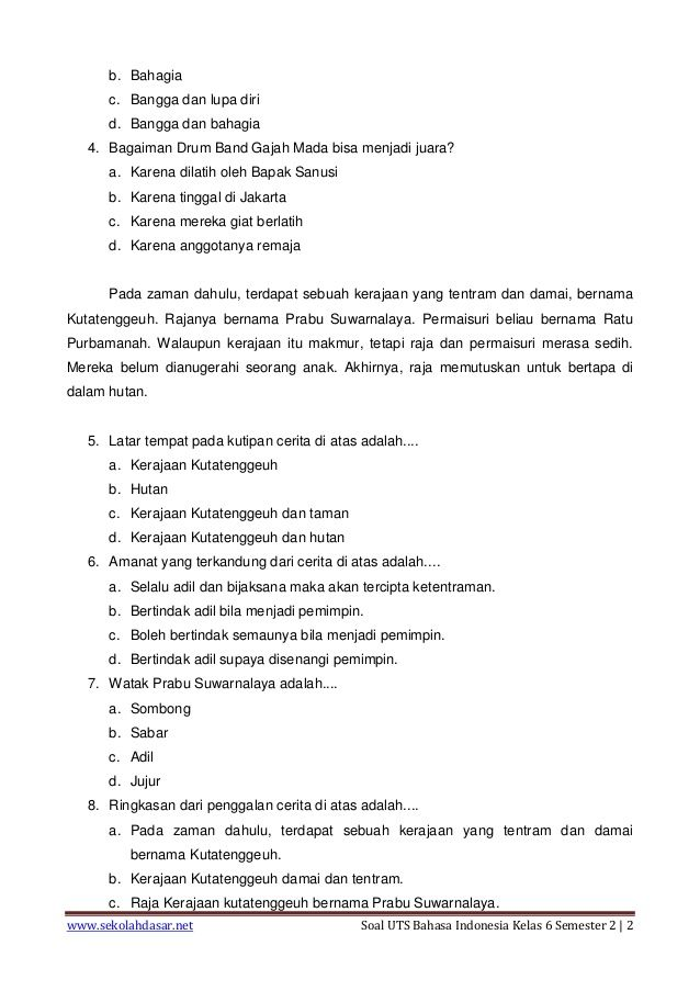 Soal Uts Bahasa Indonesia Kelas 6 Semester 2