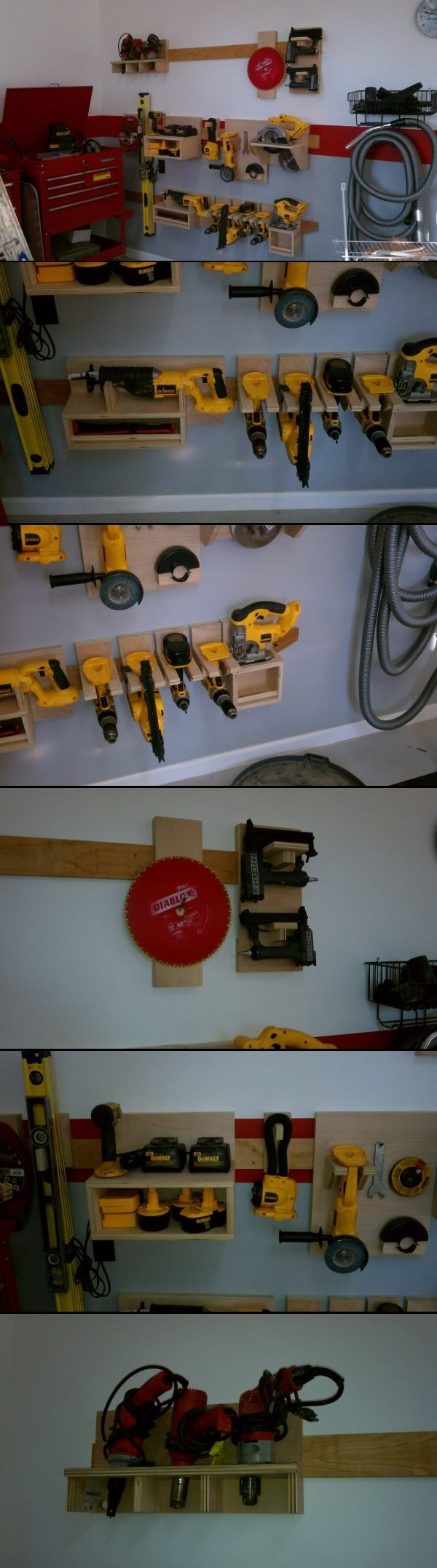 French Cleat Storage - DeWalt handtools and others.  From: http://www.garagejournal.com/forum/showthread.php?t=121476 - created via http://pinthemall.net