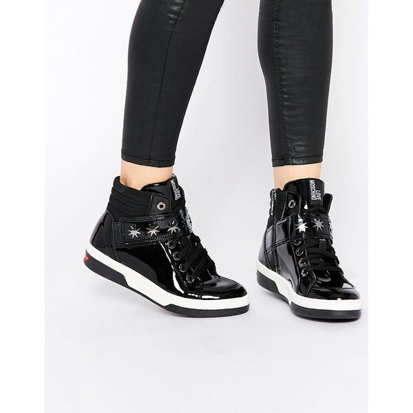 Love Moschino Black Patent Leather Hi Top Sneakers ($404) ❤ liked on Polyvore featuring shoes, sneakers, black, lace up sneakers, high top tennis shoes, patent leather sneakers, black strappy shoes and black tennis shoes