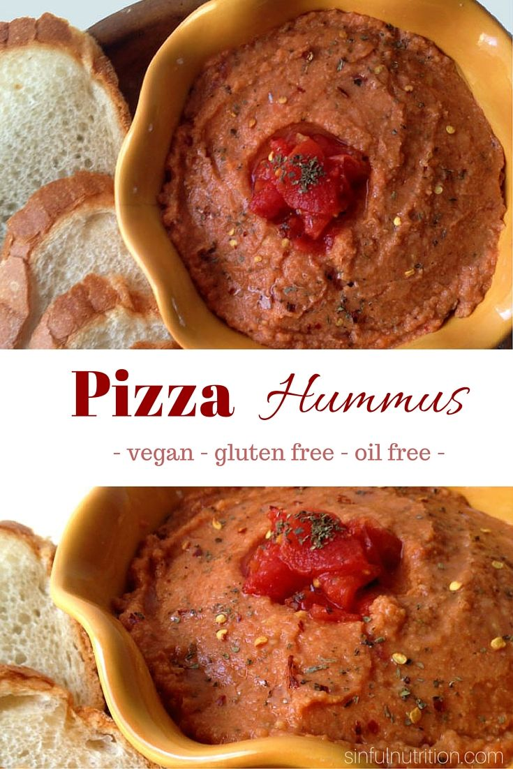Pizza Hummus Recipe -- An easy dip for pizza lovers! No oil or tahini required, and takes only minutes to make!