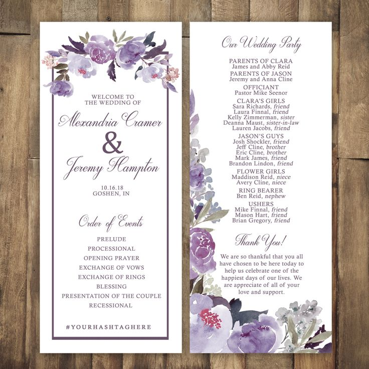 avery address labels wedding invitations%0A Gorgeous purple floral fall wedding program