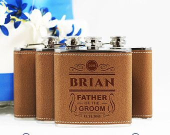 Father of the Bride Gift 1 LEATHER  Personalized Engraved Flask 6oz for Father of the Groom, Hip Flask SINGLE - SPEAKEASY Collection