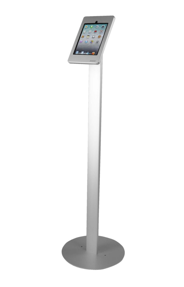 ipad floor stand w locking enclosure tilting bracket silver - Ipad Floor Stand