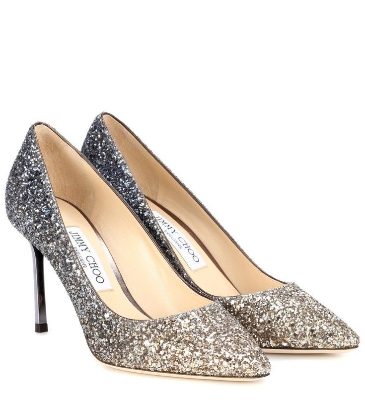 Jimmy Choo - Exclusive to mytheresa.com – Romy 85 glitter pumps - Jimmy Choo's Romy 85 pumps are crafted with a coating of sparkling glitter in an ombré effect from gold to anthracite for a luxe look. The pointed toe and slender, mirrored heel provide a sharp finish to the dazzling pair. Use yours as an eye-catching finish to a neutral party dress. seen @ www.mytheresa.com