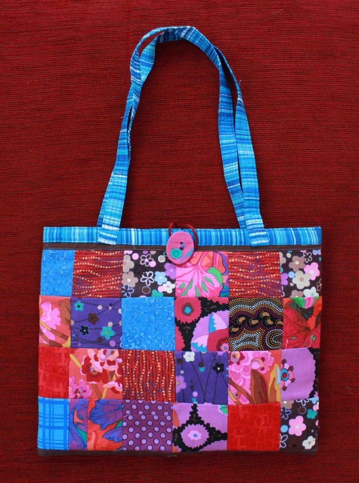 Judy Rogers Textiles Handbag  Textile Wearable Art Aqua patchwork $45-