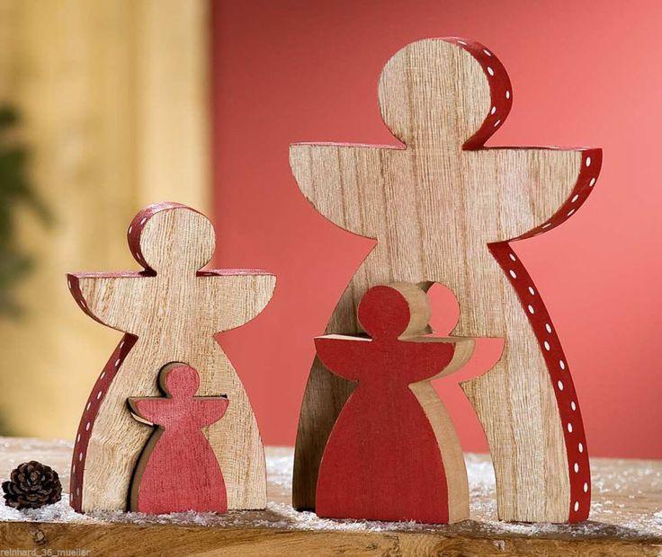 Weihnachtsdeko Weihnachtsfiguren aus Holz zum Hinstellen Engel Tannenbaum Gilde